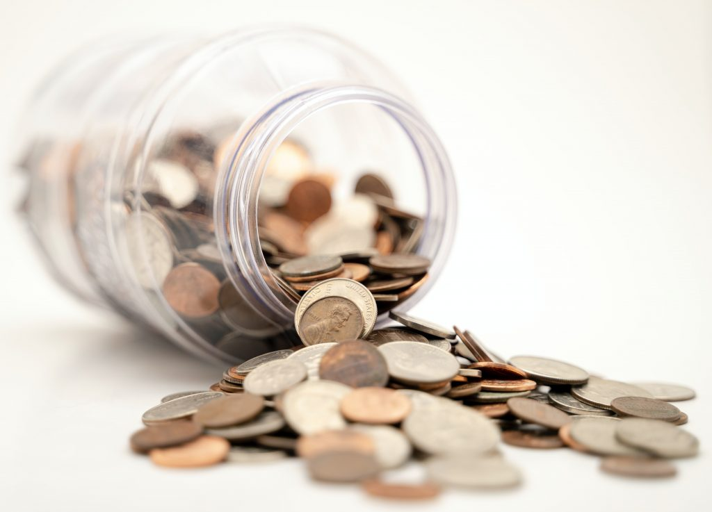 Pennies Spilled Out of a Jar